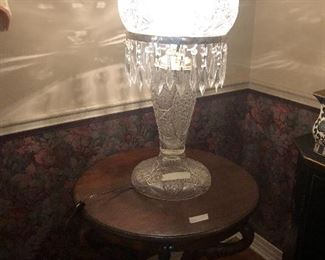Cut Glass Lamp with Globe