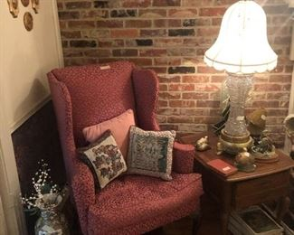 Wing Back Chair, Cut glass Lamp, side table