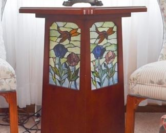 Unusual Side Table with Stained Glass Inserts (lights up)