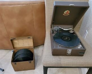 Antique Phonograph with Records