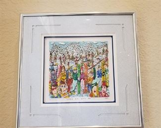 "James Rizzi "" Come Ski with Me"" signed"
