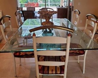 Awesome all glass Dining table with 6 chairs.