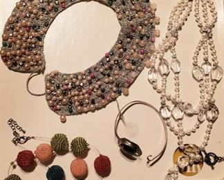 Lots of nice vintage and new costume fashion jewelry!  Silver