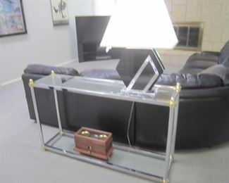 GLASS AND BRASS/CHROME SOFA TABLE