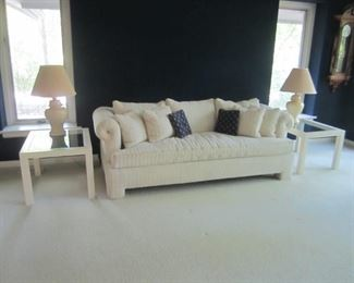 WHITE SOFA AND PAIR OF END TABLES AND LAMPS