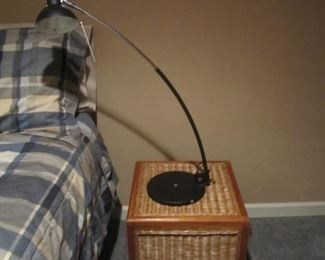 WICKER CHEST AND LAMP
