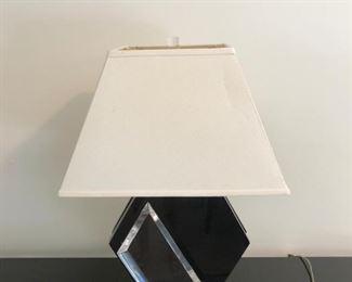 PAIR OF BLACK ACRYLIC LAMPS