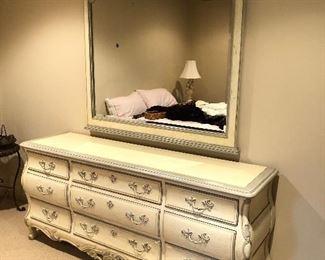 "Shabby chic french provisional maker ""Century"" 9 drawer dressers 75x19x33    Shabby chic maker Century French Provisional  Mirror 53x58"