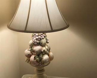 Made in Italy ceramic fruit lamps pair