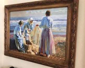 Painting - women by the sea repairing nets