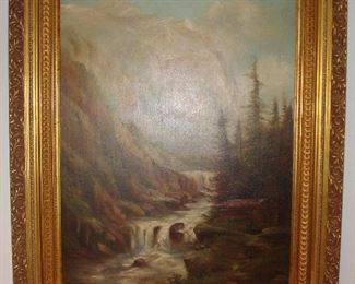"""Dining Room:  A large antique oil painting of a mountain scene hangs above the Paul McCobb sideboard/credenza. The painting [including the frame] measures 38-l/2"""" x 51.""""  Notice the beautiful blue sky hovering above the mountains and flowing river.  This piece is not signed but one can tell it is a quality piece of art.  It was originally purchased at an estate sale on Portland Place years ago."""