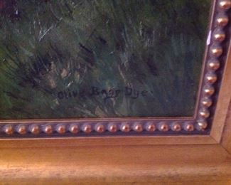 Dining Room:  Shown is Olive Bagg Dye's signature and a close-up of the beaded frame.