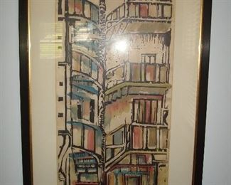 """Dining Room:  This mid-century piece of art is titled, """"Electric Stairway"""" and measures 18"""" wide x 28"""" tall, including the frame.  The artist's signature appears to be """"Art Brunneman."""""""
