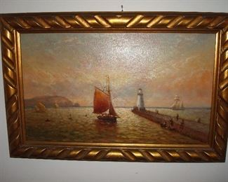 """Dining Room:  This original painting on board of a boat scene measures 15"""" x 23,"""" including the frame.  The artist's signature is partially exposed and appears to be """"W A. Carter."""""""