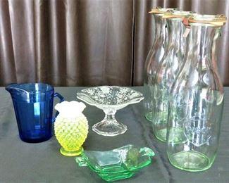 Hobnail, Fostoria, Blue Glass, Becks Bottles w/Lids