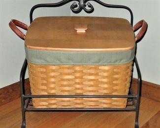 Longaberger Newspaper Basket w/wrought Iron Carrier