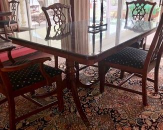 Traditional cherry dining table with chairs (Rug not for sale)