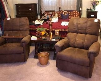 Bed, chest of drawers, dresser available Sunday. Recliners sold