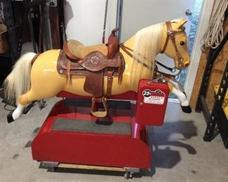 Vintage coin operated horse, Sandi the Palomino, restored