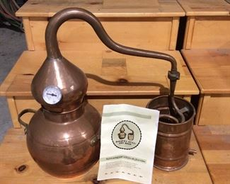 Miniature copper whiskey still, works and makes very good whiskey