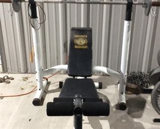 Barbell and weight bench