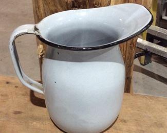 Antique enamel water pitcher