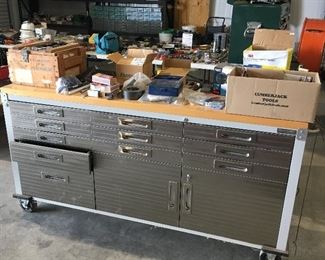 Large Rolling Bench  Stainless front and Butcher block top Lots of storage and lockable drawers and cabinets