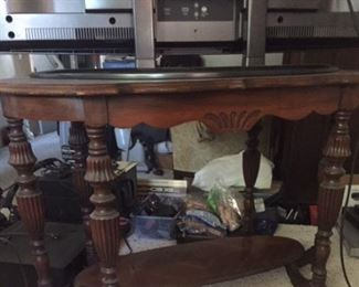 Antique table, vintage stereo equipment, TV's