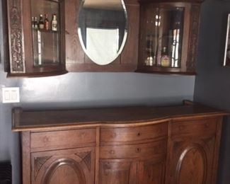 Antique bar and mirror wall unit