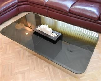 Smoky Glass Top Coffee / Cocktail Table with Marble Base
