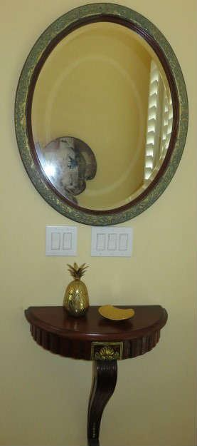 Beveled Oval Wall Mirror, Demilune Console Foyer Wall Shelf