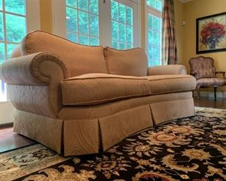 Ethan Allen Two Seat Sofa in Damask