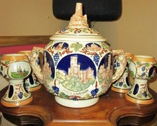 Germany covered Punch bowl with cups