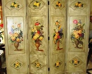 Hand Painted 4-section room divider
