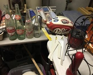 Dr Pepper bottles, foot ball and misc goods