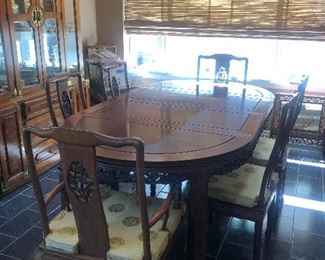 Vintage Carved Solid Rosewood Chinese Dining Table with 8 Chairs + Corner Chair