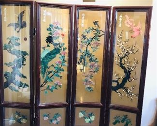 Stunning Double Sided Screen -Hand Painted made of Heavy Jade and Store Floral Shadow ( 1980s)