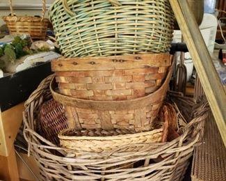 Dozens of antique baskets
