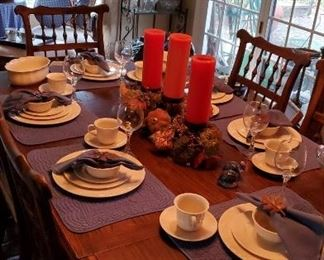 Lots of gorgeous fall decor. Beautiful cream colored Lenox dish set