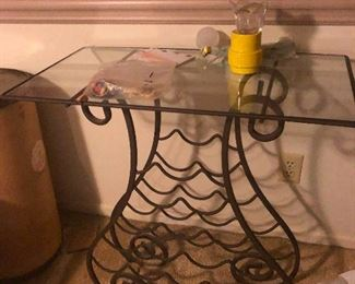 Swirly wine rack table base -- Cher removed the wine to torment me