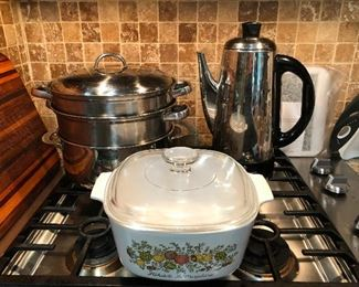 Corningware, percolator coffee maker, a pot that you need but I forgot the name of