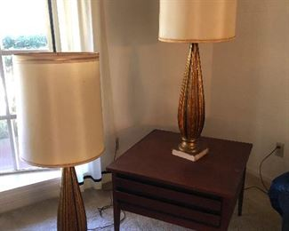 Slender lamps are behind you look out