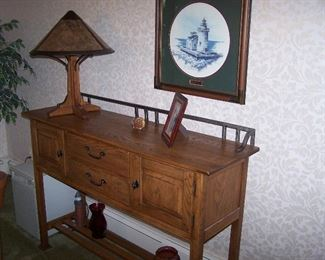 LEXINGTON ARTS & CRAFTS-STYLE SIDEBOARD & MICA LAMP CO.  LAMP