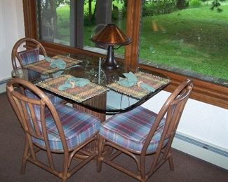 GLASS-TOP DINETTE & 4 CHAIRS AND ANOTHER MICA CO. LAMP