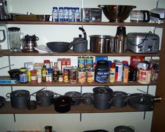 SOME OF THE KITCHEN ITEMS, INCLUDING CALPHALON COOKWARE