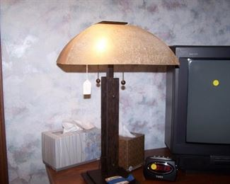 GREAT TABLE LAMP--IRIDESCENT GLASS SHADE