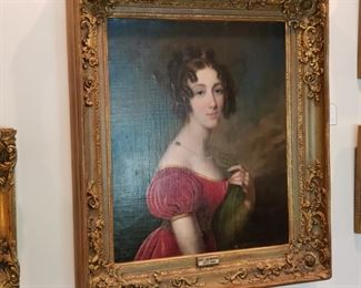 "19th Century English ancestor portrait with label  ""Anne Lady Montagu 1804-1864"""