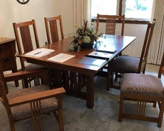 Mission style table and 6 chairs.  Also has 2 leaves.