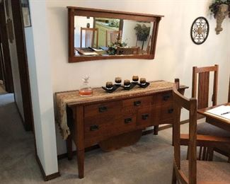 Mission style buffet and Mirror.