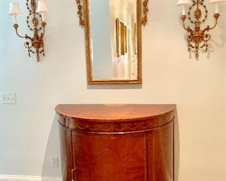 Demilune console and mirror and sconces